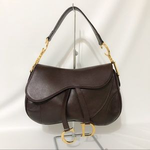 Authentic Christian Dior Double Saddle Bag Brown